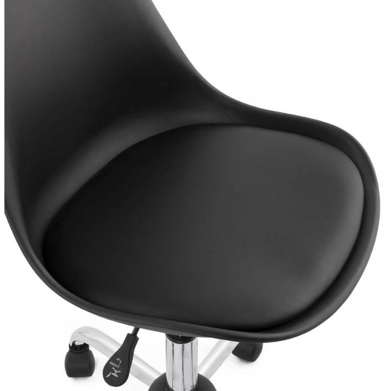 Chaise de bureau design PAUL en polyuréthane et métal chromé (noir) - image 20702