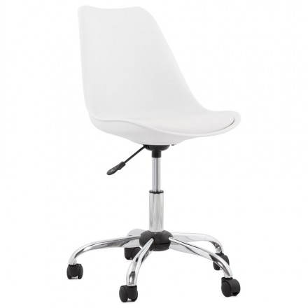 Chaise de bureau design PAUL en polyuréthane et métal chromé (blanc)
