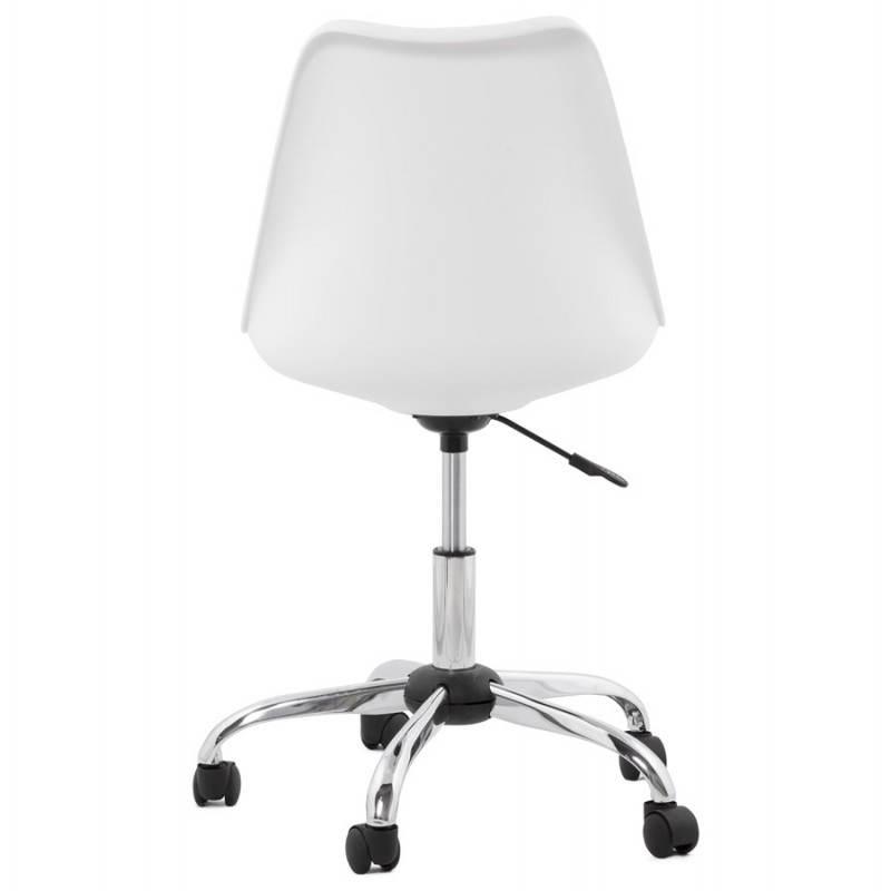 chaise de bureau design paul en polyur thane et m tal chrom blanc. Black Bedroom Furniture Sets. Home Design Ideas