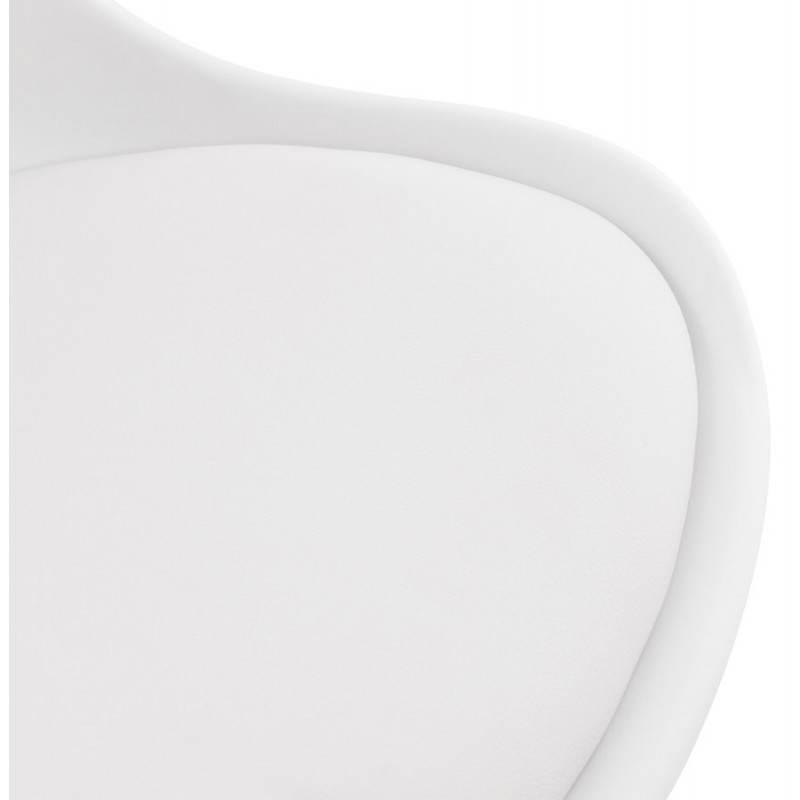 Chaise de bureau design PAUL en polyuréthane et métal chromé (blanc) - image 20717