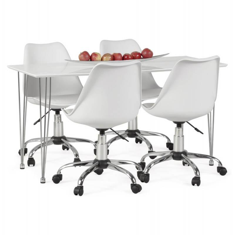 Chaise de bureau design PAUL en polyuréthane et métal chromé (blanc) - image 20723