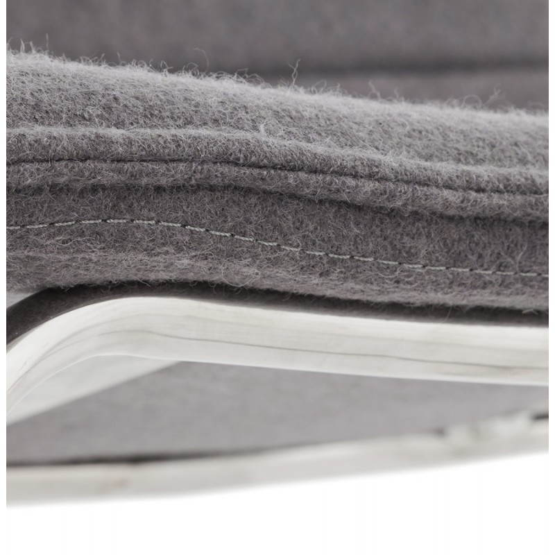 Tabouret de bar matelassé ANAIS tissu et métal chromé (gris foncé) - image 20776