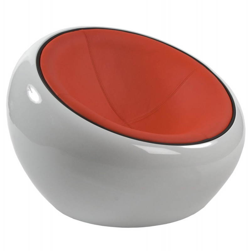 BOULE Sillón moderno de corte minimalista giratorias pies ajustables (rojo blanco) - image 20967