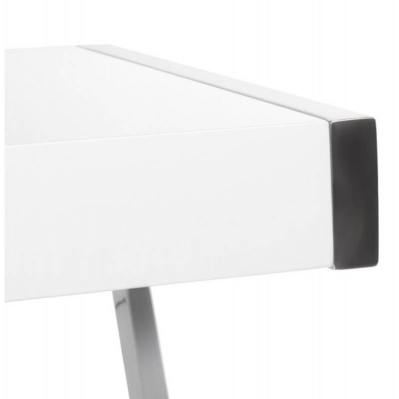 Bureau d'angle design TUTTI en bois laqué et métal chromé (blanc) - image 21005