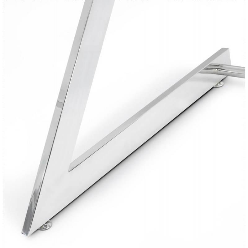 Bureau d'angle design TUTTI en bois laqué et métal chromé (blanc) - image 21007