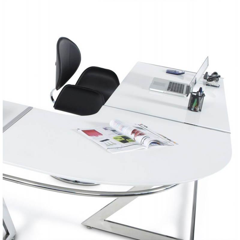 Bureau d'angle design TUTTI en bois laqué et métal chromé (blanc) - image 21009