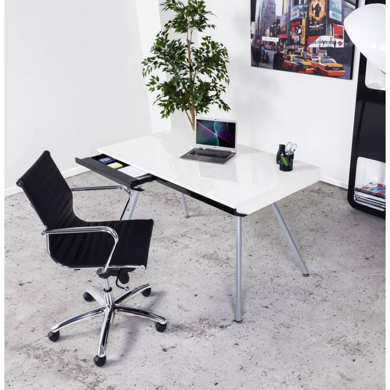Bureau design palaos en bois laqu et m tal peint blanc for Bureau blanc design contemporain
