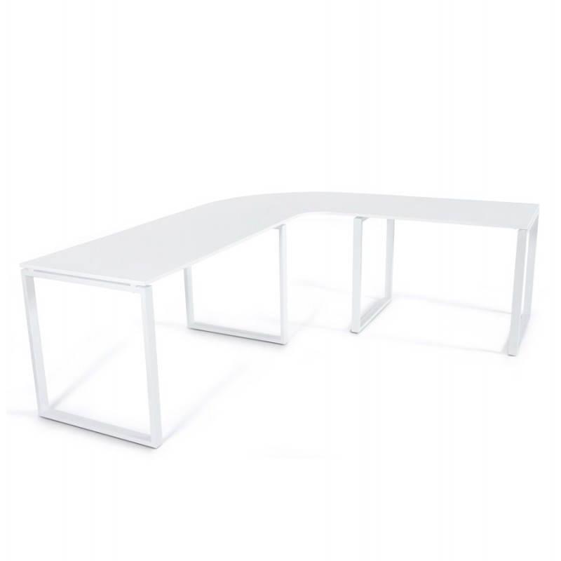 Bureau d'angle design FIDJI en bois laqué et métal peint (blanc) - image 21029