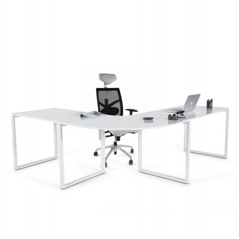 Bureau d'angle design FIDJI en bois laqué et métal peint (blanc) - image 21035
