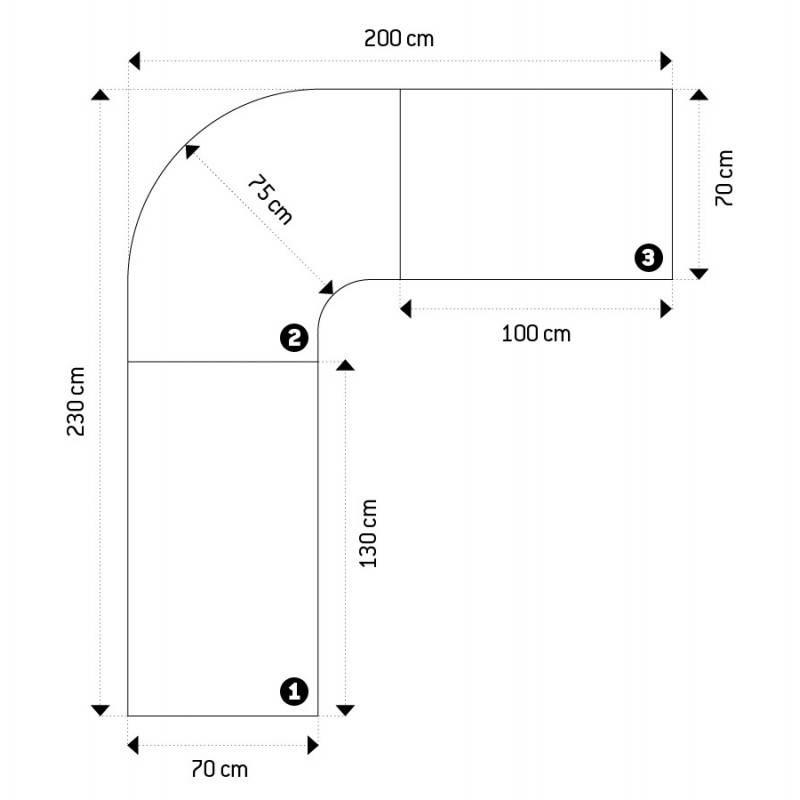 Bureau d'angle design FIDJI en bois laqué et métal peint (blanc) - image 21036