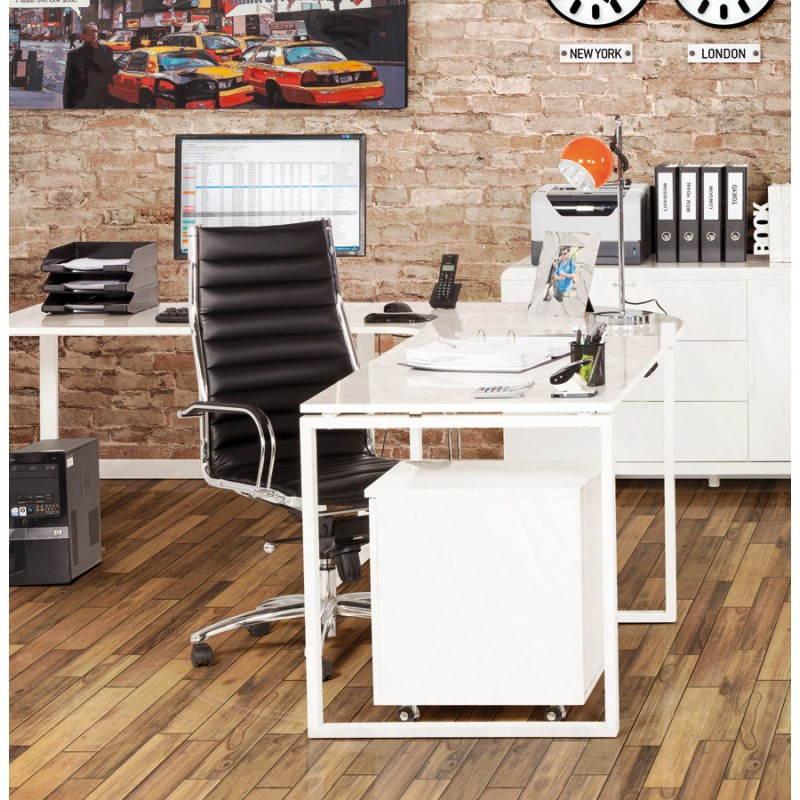 Bureau d'angle design FIDJI en bois laqué et métal peint (blanc) - image 21038