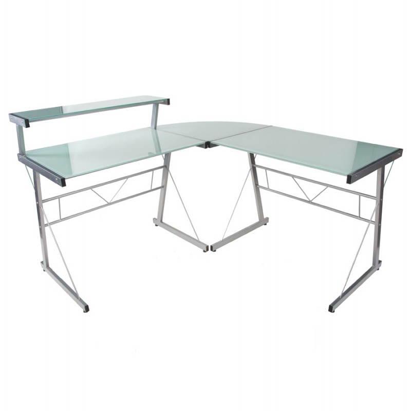 Bureau d'angle design CHILI en acier et verre sécurit teinté (blanc)