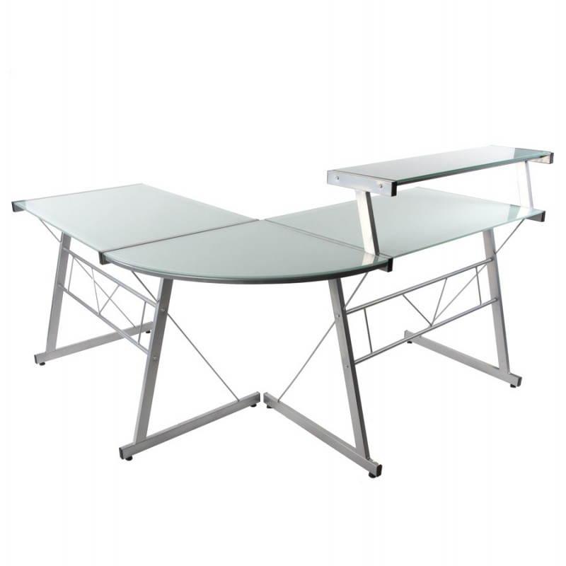 Bureau d'angle design CHILI en acier et verre sécurit teinté (blanc) - image 21040