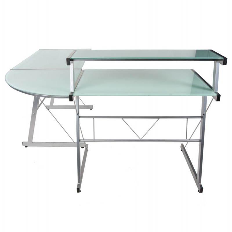 Bureau d'angle design CHILI en acier et verre sécurit teinté (blanc) - image 21041