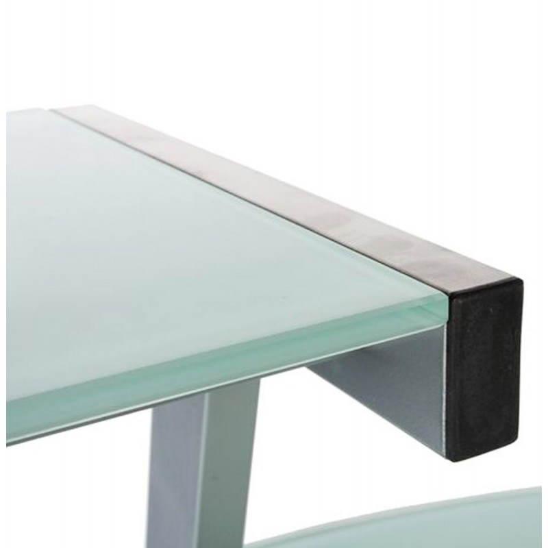 Bureau d'angle design CHILI en acier et verre sécurit teinté (blanc) - image 21042