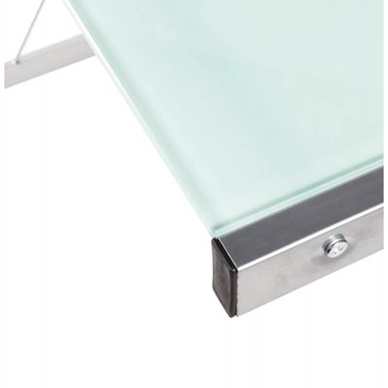 Bureau d'angle design CHILI en acier et verre sécurit teinté (blanc) - image 21046