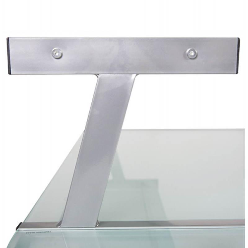 Bureau d'angle design CHILI en acier et verre sécurit teinté (transparent sablé) - image 21056