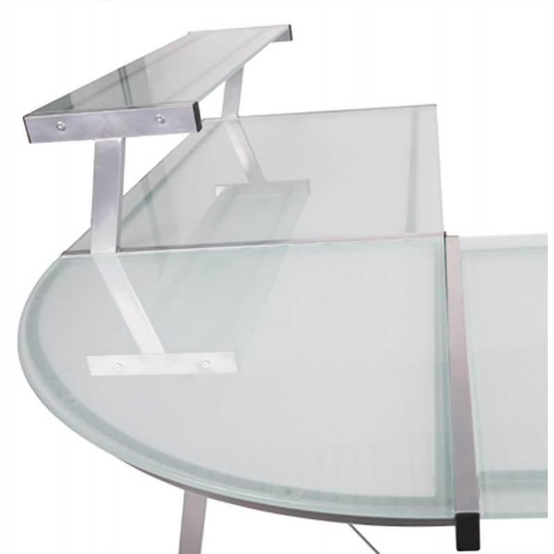 Bureau d'angle design CHILI en acier et verre sécurit teinté (transparent sablé) - image 21057
