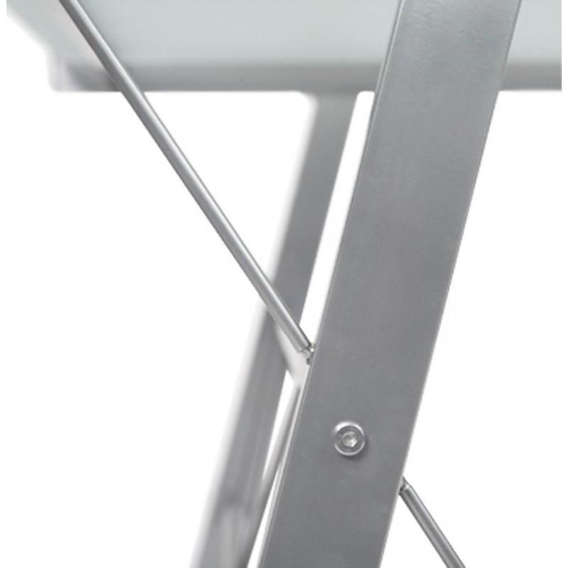 Bureau d'angle design CHILI en acier et verre sécurit teinté (transparent sablé) - image 21058