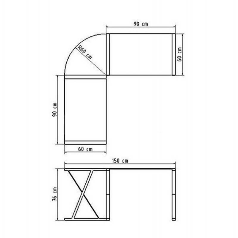 Bureau d'angle design CHILI en acier et verre sécurit teinté (transparent sablé) - image 21059