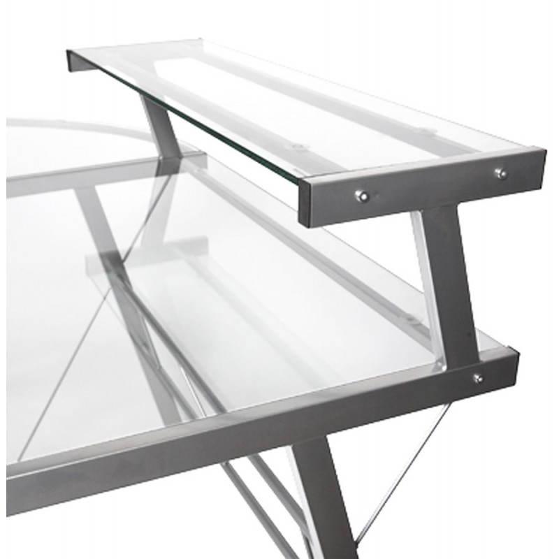 Bureau d'angle design CHILI en acier et verre sécurit teinté (transparent) - image 21067