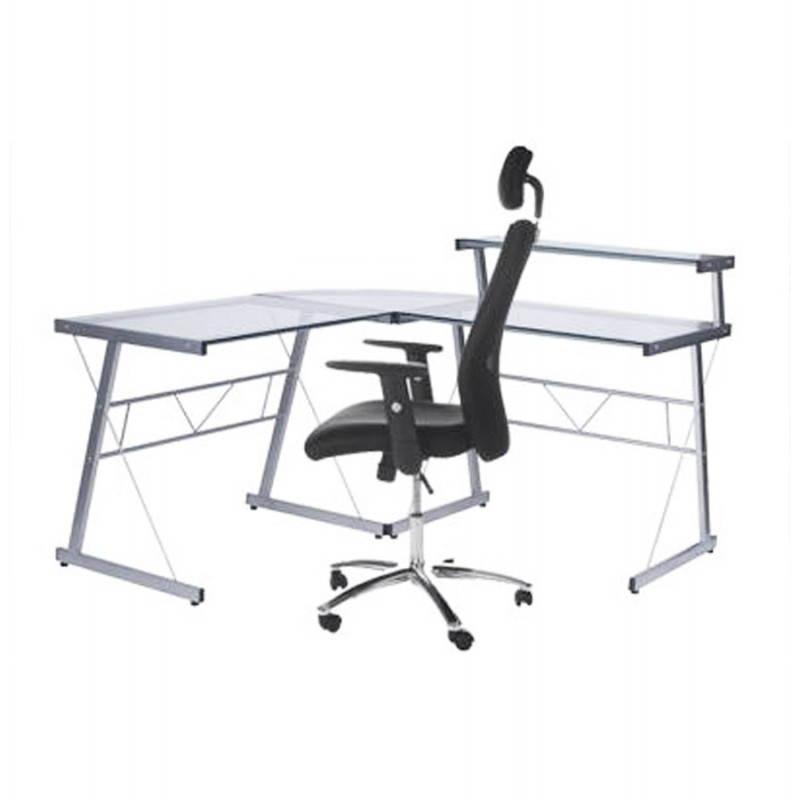 Bureau d'angle design CHILI en acier et verre sécurit teinté (transparent) - image 21068
