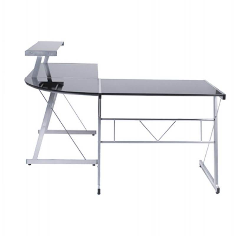 Bureau d'angle design CHILI en acier et verre sécurit teinté (noir) - image 21072
