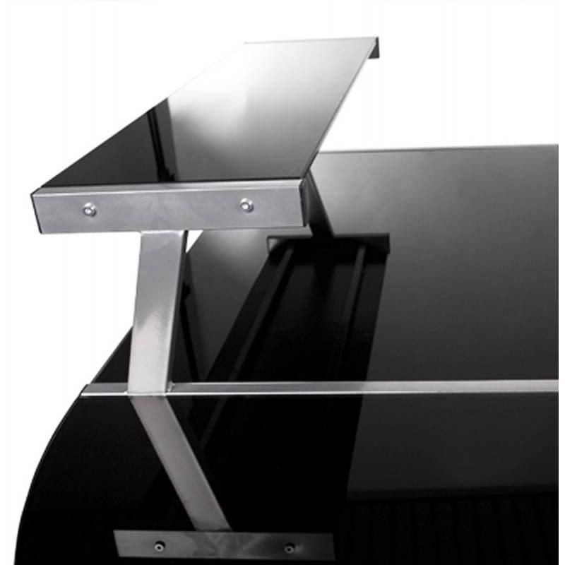 Bureau d'angle design CHILI en acier et verre sécurit teinté (noir) - image 21074