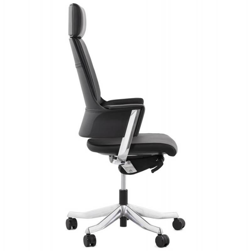Fauteuil de bureau design ergonomique cuba en cuir noir - Fauteuil de bureau noir ...
