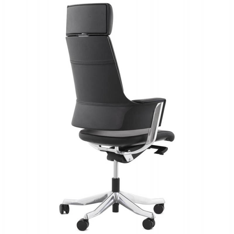 Fauteuil de bureau design ergonomique CUBA en cuir (noir) - image 21083
