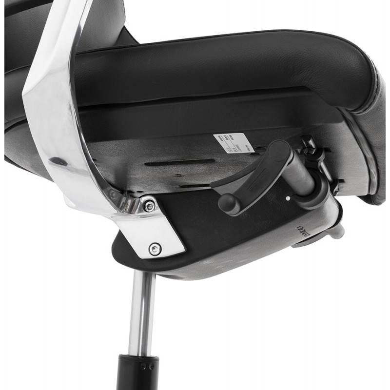 Fauteuil de bureau design ergonomique CUBA en cuir (noir) - image 21096