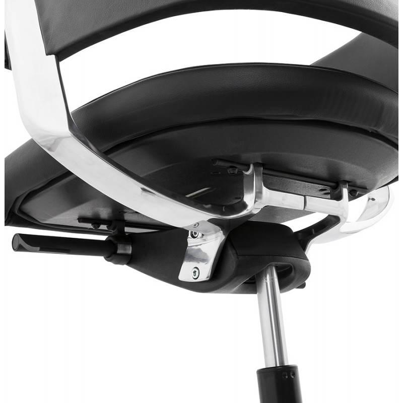 Fauteuil de bureau design ergonomique CUBA en cuir (noir) - image 21100