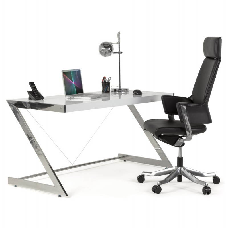Fauteuil de bureau design ergonomique CUBA en cuir (noir) - image 21103