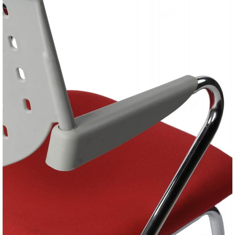 Chaise de bureau design BERMUDES en tissu (rouge et gris) - image 21151