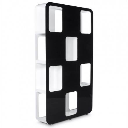 Shelf or screen LAGOON lacquered wooden (black and white)