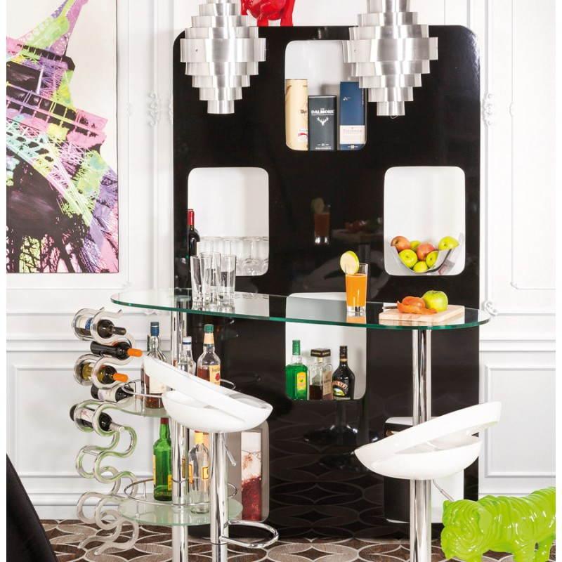 etag re ou paravent lagon en bois laqu blanc et noir. Black Bedroom Furniture Sets. Home Design Ideas