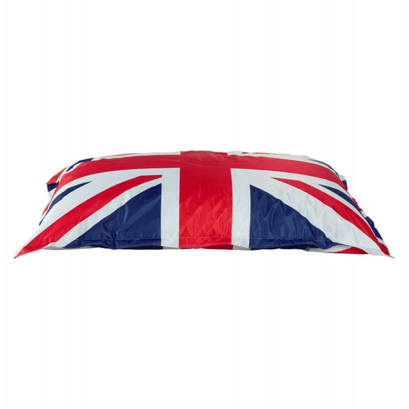 Pouf rectangulaire géant MILLOT UK en textile (bleu, blanc et rouge) - image 21200