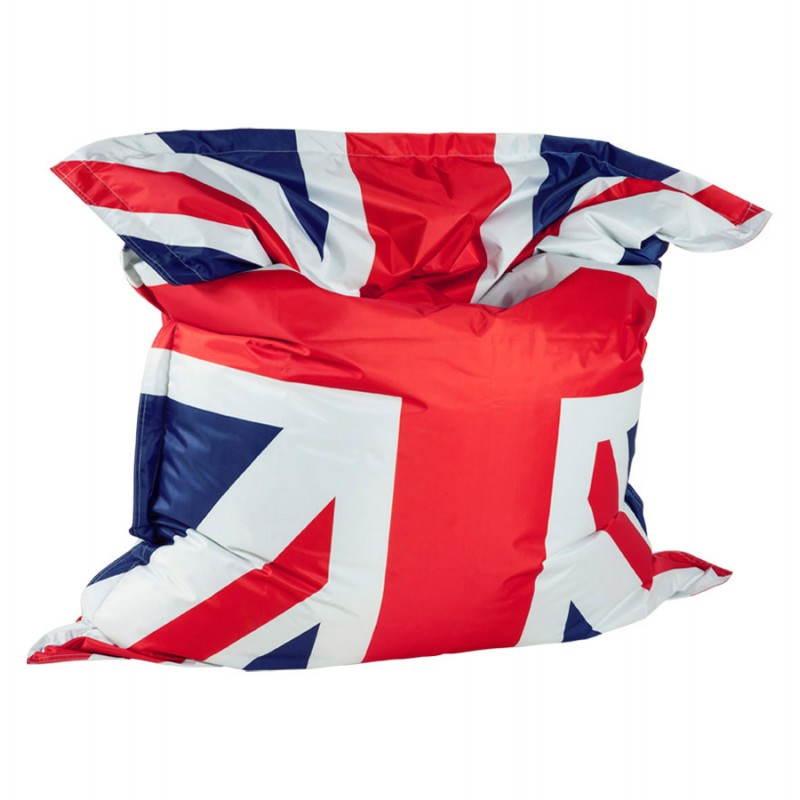 Pouf rectangulaire géant MILLOT UK en textile (bleu, blanc et rouge) - image 21201