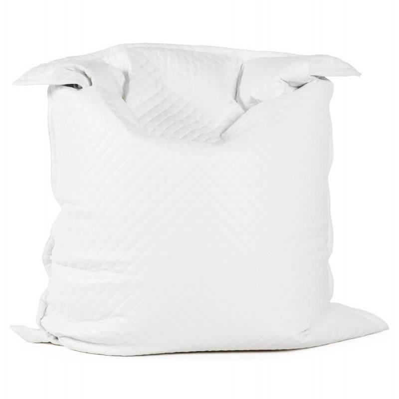 Puff rectangular lilian textile polyurethane white - Pouf simili cuir blanc ...