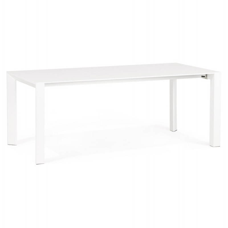 Design table with 2 extensions MACY (white) painted wood - image 21293