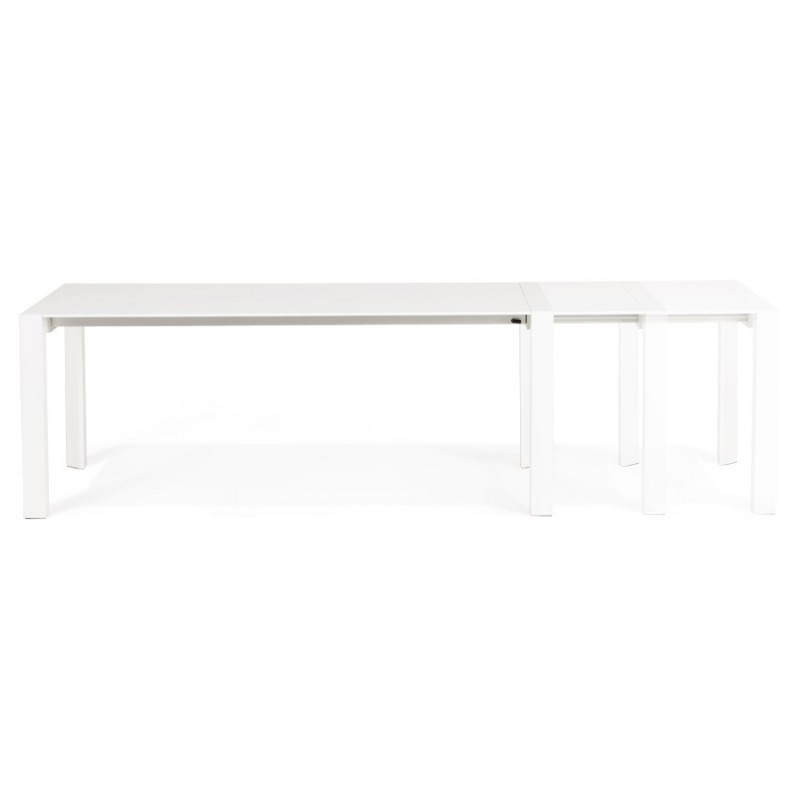 Design table with 2 extensions MACY (white) painted wood - image 21297
