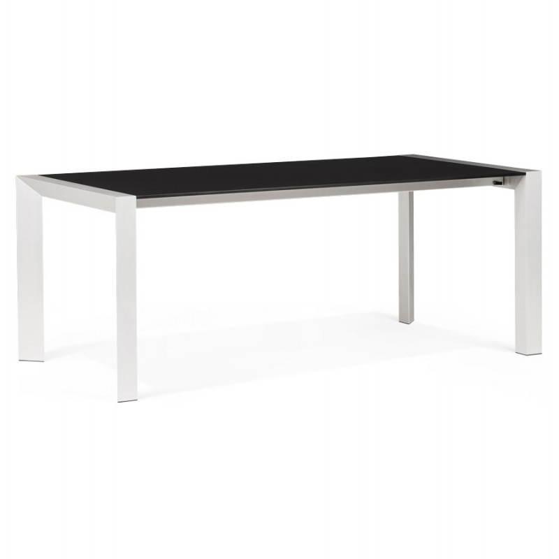 Table design avec 2 rallonges MACY en bois peint (noir)