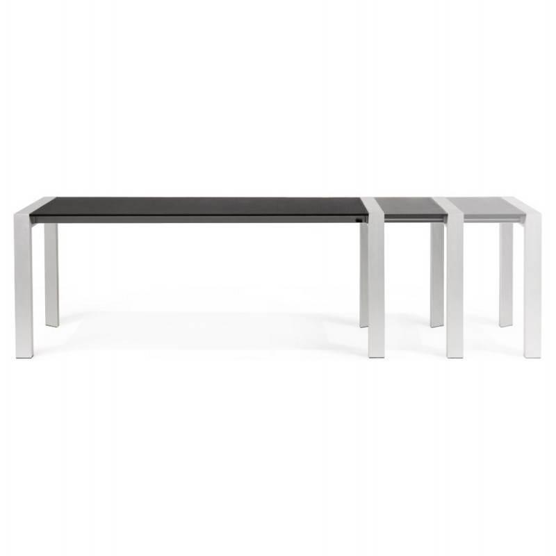 Table design avec 2 rallonges MACY en bois peint (noir) - image 21320