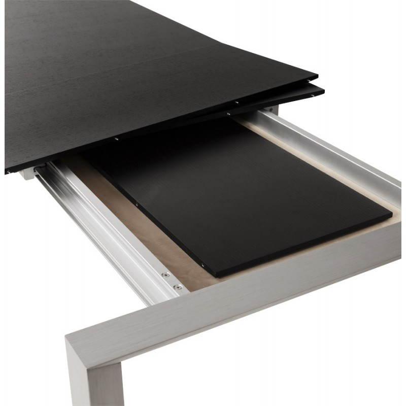 Table design avec 2 rallonges MACY en bois peint (noir) - image 21327