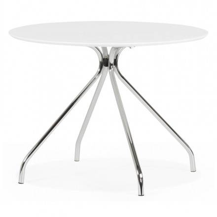 Moderner runder Tisch Kitty aus lackiertem Holz und Metall (Ø 100 cm) (weiß)
