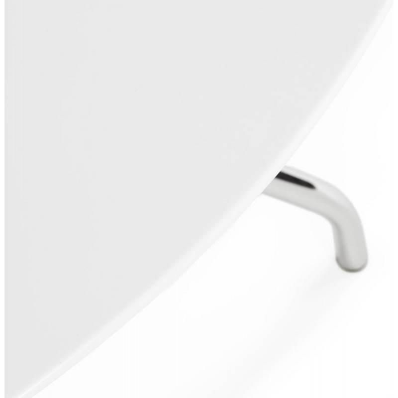 Table moderne ronde MINOU en bois peint et métal (Ø 100 cm) (blanc) - image 21378