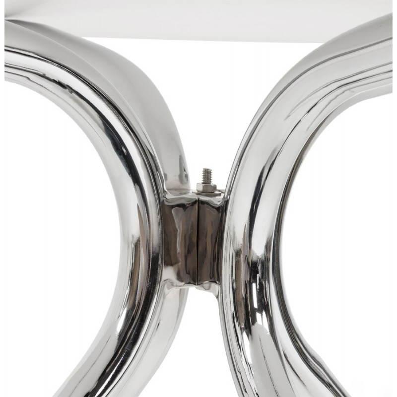 Table moderne ronde MINOU en bois peint et métal (Ø 100 cm) (blanc) - image 21382