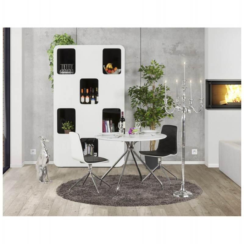 Table moderne ronde MINOU en bois peint et métal (Ø 100 cm) (blanc) - image 21390