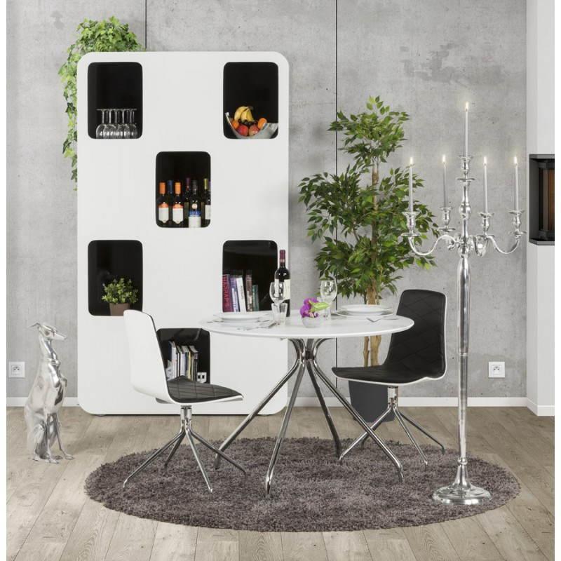 Table moderne ronde MINOU en bois peint et métal (Ø 100 cm) (blanc) - image 21391
