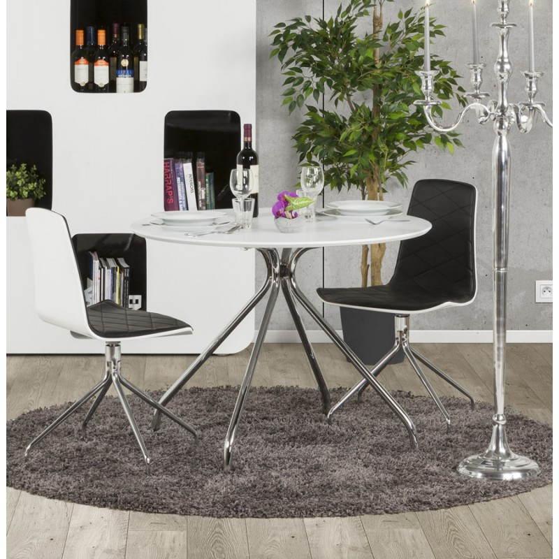 Tavolo rotondo moderno kitty in legno dipinto e metallo - Tavolo rotondo moderno ...